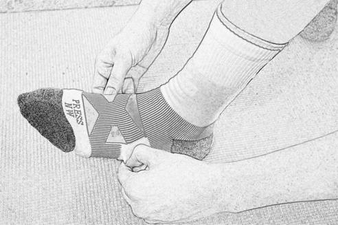 3. 調整襪體、襪筒至合適的位置